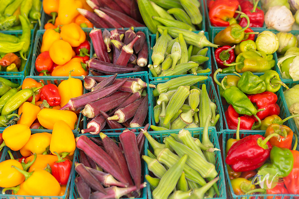 Southland Farmers Market. Shinshito peppers; yummy peppers; fresh okras; patron peppers; tomatilloes; eggplants;