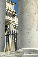 Detail of the Harding Tomb, also known as the Harding Memorial -- the burial location of the 29th President of the United States, Warren G. Harding and First Lady Florence Kling Harding. Built of Georgia white marble in the style of a classical Greek temple, with both doric and ionic columns. Marion, Ohio, USA.