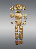 Body shaped Mycenaean gold cut outs from Grave III, 'Grave of a Women', Grave Circle A, Myenae, Greece. National Archaeological Museum Athens. Grey Background<br /> <br /> Cat No 146. 16th century BC.<br /> <br /> A unique gold body covering and face of an infant child mad out of pieces of gold foll<br /> <br /> Shaft Grave III, the so-called 'Grave of the Women,' contained three female and two infant interments. The women were literally covered in gold jewelry and wore massive gold diadems, while the infants were overlaid with gold foil.