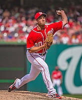 14 April 2013: Washington Nationals pitcher Zach Duke on the mound against the Atlanta Braves at Nationals Park in Washington, DC. The Braves shut out the Nationals 9-0 to sweep their 3-game series. Mandatory Credit: Ed Wolfstein Photo *** RAW (NEF) Image File Available ***