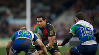 Maurie Fa'asavalu of Harlequins faces up to Eoin Griffin (left) and Robbie Henshaw of Connacht Rugby during the Heineken Cup match between Harlequins and Connacht Rugby at The Twickenham Stoop on Saturday 12th January 2013 (Photo by Rob Munro).