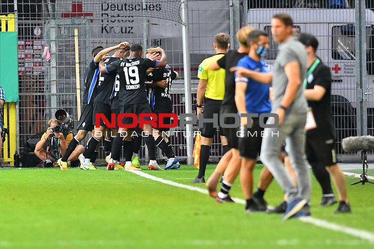 13.09.2020, Carl-Benz-Stadion, Mannheim, GER, DFB-Pokal, 1. Runde, SV Waldhof Mannheim vs. SC Freiburg, <br /> <br /> DFL REGULATIONS PROHIBIT ANY USE OF PHOTOGRAPHS AS IMAGE SEQUENCES AND/OR QUASI-VIDEO.<br /> <br /> im Bild: Dominik Martinovic (SV Waldhof Mannheim #11) jubelt ueber sein Tor zum 1:1<br /> <br /> Foto © nordphoto / Fabisch
