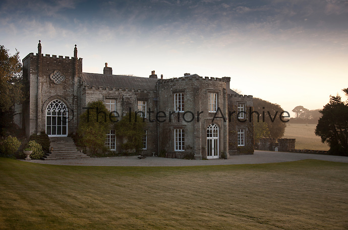 The south front of Prideaux place. Gothic Revival editions were made to the Elizabethan building in the 19th century