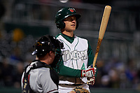 Fort Wayne TinCaps first baseman Nick Feight (4) during a Midwest League game against the Quad Cities River Bandits at Parkview Field on May 3, 2019 in Fort Wayne, Indiana. Quad Cities defeated Fort Wayne 4-3. (Zachary Lucy/Four Seam Images)