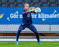 SOLNA, SWEDEN - APRIL 10: Alyssa Naeher #1 of the USWNT warms up before a game between Sweden and USWNT at Friends Arena on April 10, 2021 in Solna, Sweden.