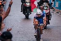 eventual bronze medal winner Jaakko Hanninen (FIN) with silver medalist Bjorg Lambrecht (BEL) in tow<br /> <br /> MEN UNDER 23 ROAD RACE<br /> Kufstein to Innsbruck: 180 km<br /> <br /> UCI 2018 Road World Championships<br /> Innsbruck - Tirol / Austria