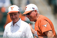 Cliff Gustafson and Auggie Garrido 0313.jpg.  Big 12 Baseball game with Texas A&M Aggies at Texas Lonhorns  at UFCU Disch Falk Field on May 9th 2009 in Austin, Texas. Photo by Andrew Woolley.