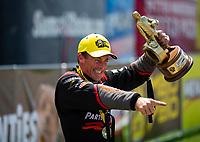 May 21, 2018; Topeka, KS, USA; NHRA top fuel driver Clay Millican celebrates after winning the Heartland Nationals at Heartland Motorsports Park. Mandatory Credit: Mark J. Rebilas-USA TODAY Sports