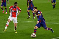 13th February 2021; Camp Nou, Barcelona, Catalonia, Spain; La Liga Football, Barcelona versus Deportivo Alaves; Leo Messi FC Barcelona takes on defender Tachi close to the box