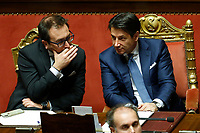 Minister of Justice Alfonso Banofede and Italian Premier Giuseppe Conte<br /> Rome December 19th 2018. Senate. Speech of the Italian Premier about the results of the negotiation with the European Union about the  budget plan.<br /> Foto Samantha Zucchi Insidefoto