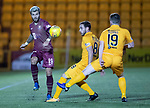 Livingston v St Johnstone…31.10.18…   Tony Macaroni Arena    SPFL<br />Richard Foster plays the ball over Scott Pittman and Bobby Burns<br />Picture by Graeme Hart. <br />Copyright Perthshire Picture Agency<br />Tel: 01738 623350  Mobile: 07990 594431