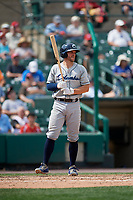Columbus Clippers catcher Adam Moore (25) bats during a game against the Rochester Red Wings on August 9, 2017 at Frontier Field in Rochester, New York.  Rochester defeated Columbus 12-3.  (Mike Janes/Four Seam Images)