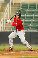 Mitch Walding (10) of the Lakewood BlueClaws follows through on his swing against the Kannapolis Intimidators at CMC-Northeast Stadium on August 13, 2013 in Kannapolis, North Carolina.  The Intimidators defeated the BlueClaws 12-8.  (Brian Westerholt/Four Seam Images)