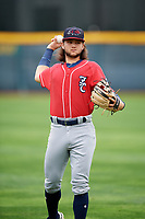 New Hampshire Fisher Cats Bo Bichette (5) warms up before a game against the Erie SeaWolves on June 20, 2018 at UPMC Park in Erie, Pennsylvania.  New Hampshire defeated Erie 10-9.  (Mike Janes/Four Seam Images)