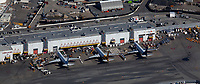 aerial photograph of the cargo aircraft of FedEx and Kallita Aircraft and the offices of FedEx and Korean Airlines at the cargo building at the San Francisco International airport (SFO), San Francisco, California.