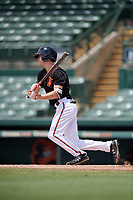 GCL Orioles Mason Janvrin (2) at bat during a Gulf Coast League game against the GCL Braves on August 5, 2019 at Ed Smith Stadium in Sarasota, Florida.  GCL Orioles defeated the GCL Braves 4-3 in the second game of a doubleheader.  (Mike Janes/Four Seam Images)