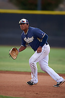 San Diego Padres Trae Santos (16) during practice before an instructional league game against the Milwaukee Brewers on October 6, 2015 at the Peoria Sports Complex in Peoria, Arizona.  (Mike Janes/Four Seam Images)