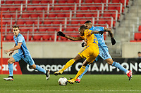HARRISON, NJ - MARCH 11: Luis Quinones #23 of Tigres UANL is marked by Alexander Callens #6 of NYCFC during a game between Tigres UANL and NYCFC at Red Bull Arena on March 11, 2020 in Harrison, New Jersey.