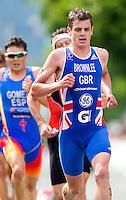 24 JUN 2012 - KITZBUEHEL, AUT - Jonathan Brownlee (GBR) of Great Britain during the run at the elite men's 2012 World Triathlon Series round in Schwarzsee, Kitzbuehel, Austria .(PHOTO (C) 2012 NIGEL FARROW)