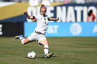 CHICAGO, IL - OCTOBER 06: Becky Sauerbrunn #4 of the United States sends a ball downfield during their game versus Korea Republic at Soldier Field, on October 06, 2019 in Chicago, IL.