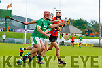 Andrew Murphy, Ballyduff, in action against Rory Duggan, Ballyheigue, during the Kerry County Minor Hurling Championship Final match between Ballyduff and Ballyheigue at Austin Stack Park in Tralee, Kerry.