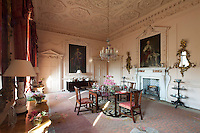 The pink dining room is a study of classic rococo plasterwork, created by John and Robert Adam