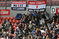 Manchester United supporters during the English Womens Championship match between Manchester United Women and Leicester City Women at Leigh Sports Village, Leigh, England on 10 March 2019. Photo by James Gill / PRiME Media Images.