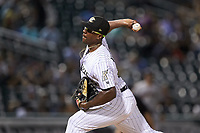 Charlotte Knights relief pitcher Thyago Vieira (10) in action against the Scranton/Wilkes-Barre RailRiders at BB&T BallPark on August 14, 2019 in Charlotte, North Carolina. The Knights defeated the RailRiders 13-12 in ten innings. (Brian Westerholt/Four Seam Images)