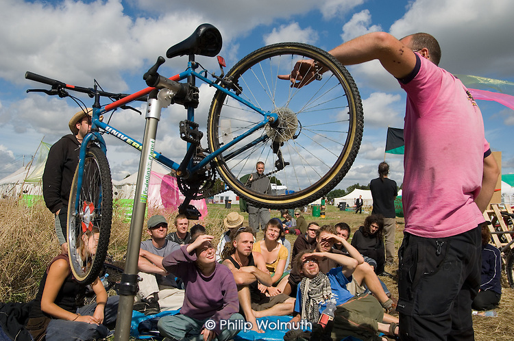 Bicycle repair workshop at the Camp for Climate Action at Heathrow, West London, the world's busiest airport.