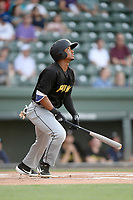 Right fielder Johnny Slater (12) of the West Virginia Power bats in a game against the Greenville Drive on Friday, May 17, 2019, at Fluor Field at the West End in Greenville, South Carolina. West Virginia won, 10-4. (Tom Priddy/Four Seam Images)