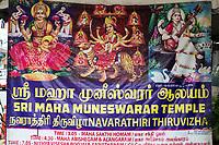 Poster Announcing Upcoming Navarathiri Celebration at Hindu Sri Maha Muneswarar Temple, Kuala Lumpur, Malaysia.