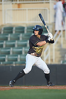 Nolan Brown (6) of the Kannapolis Intimidators at bat against the Hagerstown Suns at Kannapolis Intimidators Stadium on May 4, 2018 in Kannapolis, North Carolina.  The Intimidators defeated the Suns 11-0.  (Brian Westerholt/Four Seam Images)