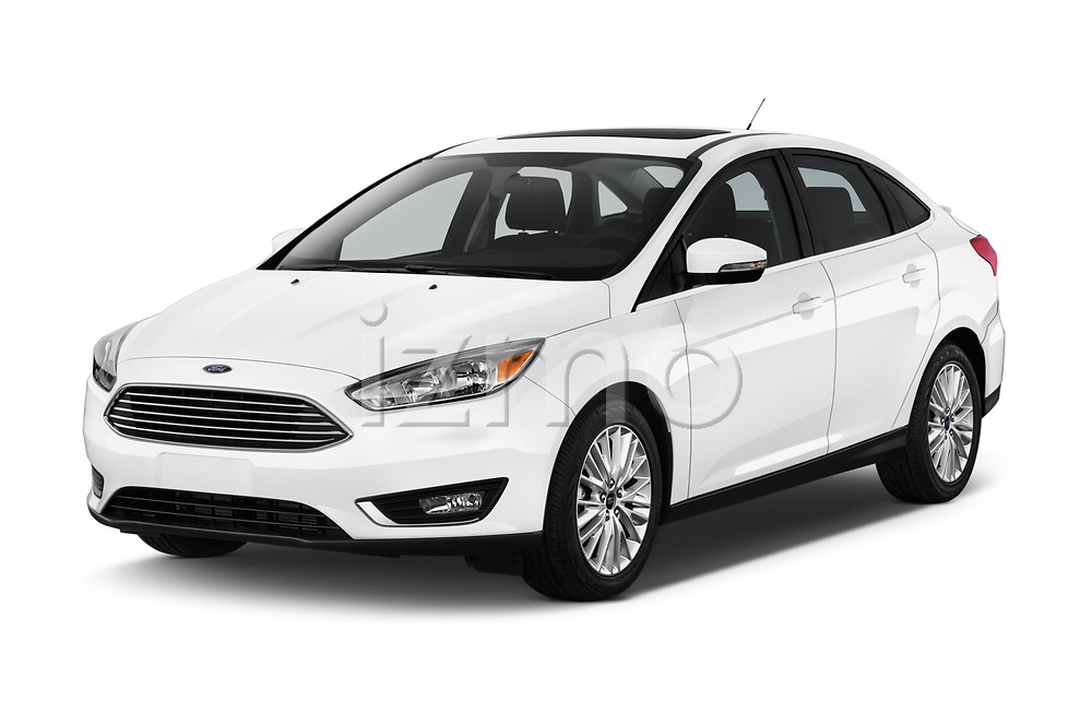 2017 Ford Focus Titanium 4 Door Sedan Angular Front stock photos of front three quarter view