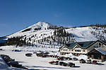Hoodoo ski area, lodge and parking lot at Hoodoo Mountain Resort, Willamette National Forest, Cascade Mountains, Oregon..#0601005