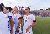 PASADENA, CA - AUGUST 4: Tobin Heath #17 huddles up during a game between Ireland and USWNT at Rose Bowl on August 3, 2019 in Pasadena, California.