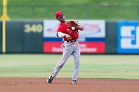 AZL Angels shortstop Jeremiah Jackson (8) during an Arizona League game against the AZL Diamondbacks at Tempe Diablo Stadium on July 16, 2018 in Tempe, Arizona. The AZL Diamondbacks defeated the AZL Angels by a score of 4-3. (Zachary Lucy/Four Seam Images)