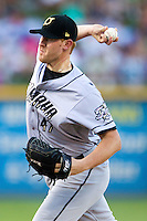 Omaha Storm Chasers pitcher Nathan Adcock #47 delivers during the Pacific Coast League baseball game against the Round Rock Express on July 20, 2012 at the Dell Diamond in Round Rock, Texas. The Chasers defeated the Express 10-4. (Andrew Woolley/Four Seam Images).