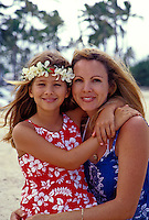 Mother and daughter in aloha wear at Kailua Beach Park, Oahu