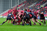Steff Evans of Scarlets in action during the Guinness Pro14 Round 11 match between the Scarlets and Edinburgh Rugby at the Parc Y Scarlets in Llanelli, Wales, UK. Saturday 15 February 2020