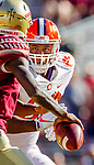 Clemson defensive lineman Xavier Kelly moves in to sack Florida State quarterback James Blackman in the second half of an NCAA college football game in Tallahassee, Fla., Saturday, Oct.27, 2018. Clemson defeated Florida State 59-10. (AP Photo/Mark Wallheiser)