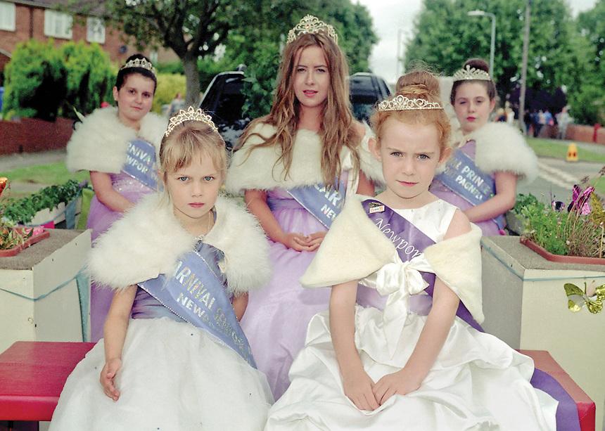 2012 Queen of Newport Pagnell, Buckinghamshire, Sophie Brewer, attended by Deputy Queen Anna Roberts, Senior Princess Coral Murphy, Junior Princess Carmen Plummer, Junior Princess Kelsey Gilmour.