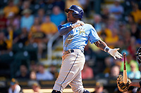 Tampa Bay Rays shortstop Tim Beckham (1) follows through on a swing during a Spring Training game against the Pittsburgh Pirates on March 10, 2017 at LECOM Park in Bradenton, Florida.  Pittsburgh defeated New York 4-1.  (Mike Janes/Four Seam Images)
