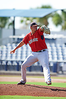 GCL Red Sox pitcher Pat Goetze (56) delivers a pitch during the first game of a doubleheader against the GCL Rays on August 4, 2015 at Charlotte Sports Park in Port Charlotte, Florida.  GCL Red Sox defeated the GCL Rays 10-2.  (Mike Janes/Four Seam Images)