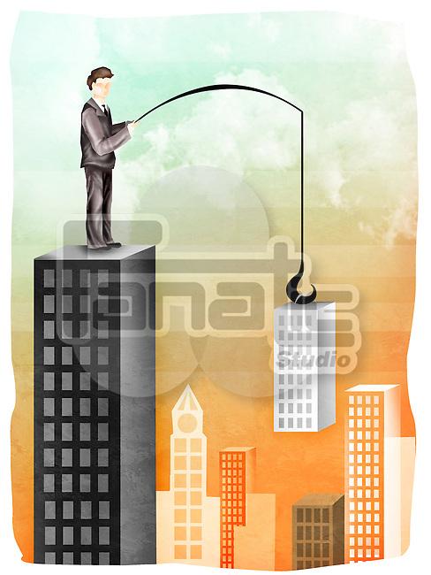 Businessman buying a company