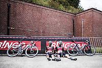 Quinn Simmons (USA/Trek Segafredo) and Emils Liepins (LET/Trek Segafredo) post race<br /> <br /> Dwars Door Het Hageland 2020<br /> One Day Race: Aarschot – Diest 180km (UCI 1.1)<br /> Bingoal Cycling Cup 2020