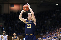 DUKE, NC - FEBRUARY 15: Dane Goodwin #23 of the University of Notre Dame shoots the ball during a game between Notre Dame and Duke at Cameron Indoor Stadium on February 15, 2020 in Duke, North Carolina.