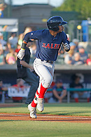 Salem Red Sox infielder Santiago Espinal (5) at bat during a game against the Myrtle Beach Pelicans at Ticketreturn.com Field at Pelicans Ballpark on June 8, 2018 in Myrtle Beach, South Carolina. Myrtle Beach defeated Salem 5-4. (Robert Gurganus/Four Seam Images)