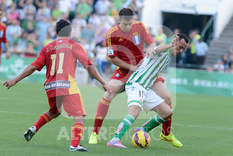 (L-R) Cabrera, Juanan and Kadir fight for the ball during the match between Real Betis and Recreativo de Huelva day 10 of the spanish Adelante League 2014-2015 014-2015 played at the Benito Villamarin stadium of Seville. (PHOTO: CARLOS BOUZA / BOUZA PRESS / ALTER PHOTOS)