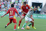 (L-R) Cabrera, Juanan and Kadir fight for the ball during the match between Real Betis and Recreativo de Huelva day 10 of the spanish Adelante League 2014-2015 014-2015 played at the Benito Villamarin stadium of Seville. (PHOTO: CARLOS BOUZA / BOUZA PRESS / ALTER PHOTOS)