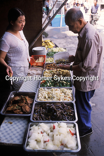 China 1990s. Fast food take away typical resturant lunch stall Hangzhou Zhejiang Province 1999